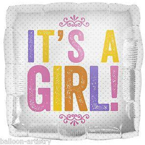 Its A Girl Square Foil Balloon