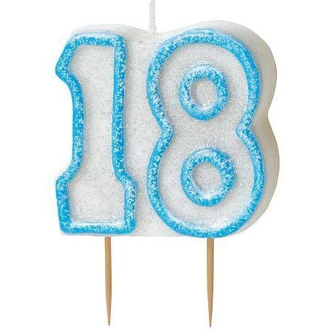 Birthday Blue Glitz Number 18 Numeral Candles