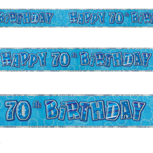 Glitz Blue 70th Foil Banner (9ft) (special price of 30p) (Also Upstairs)