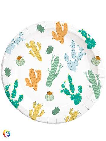 Cacti Large Paper Plates x 8