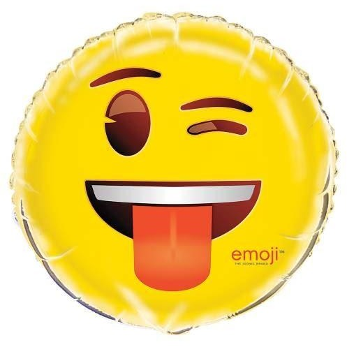 "Wink Emoji Round Foil Balloon 18"", Packaged"