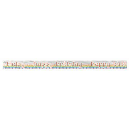 Foil Rainbow Chevron Banner, 12 ft, Long Fold