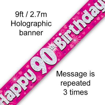 Happy 90th Birthday Holographic Foil Banner