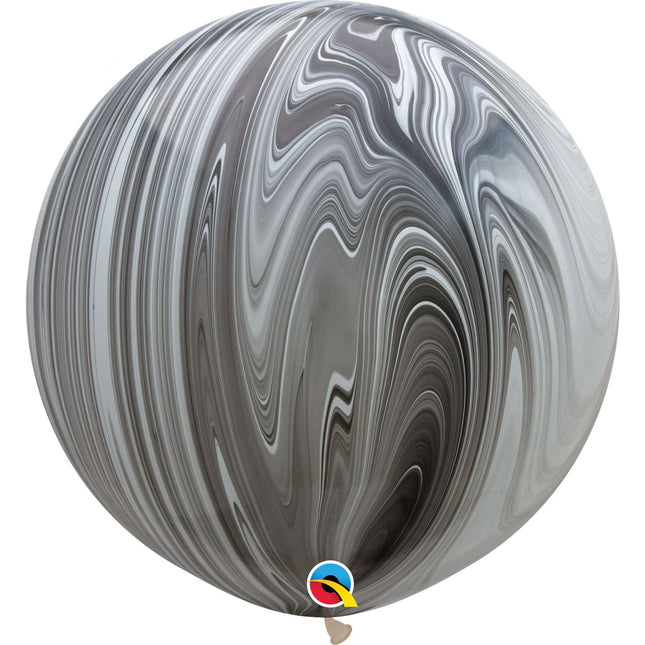 "30""  RND  BLK&WHT AGATE   02CTQUALATEX PLAIN LATEX AGATE"