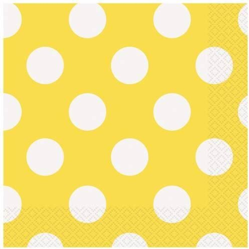 16 Sunflower Yellow Dots Lunch Napkins