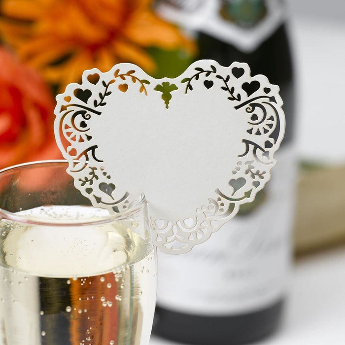 Vintage Romance Laser Cut Place Cards For Glass - White