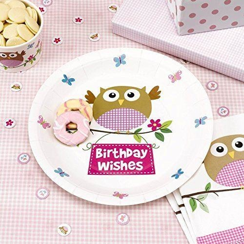 Little Owls - Birthday Wishes Plate - 8 - Pink