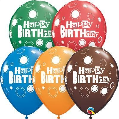 "Birthday Bold Dots Round 11"" Latex X25"