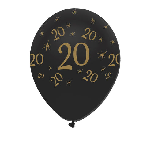 Creative Party Latex Balloons Black & Gold Age 20