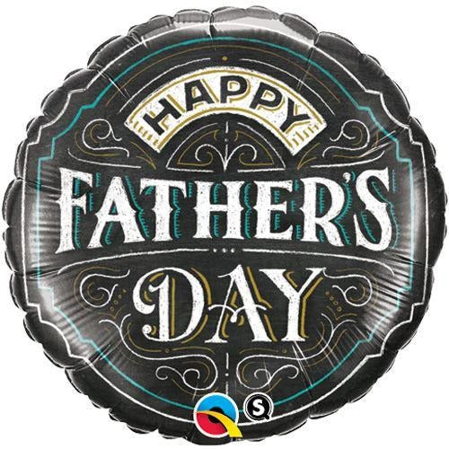 "18"" Happy Fathers Day Black Round Foil Balloon Qualatex"