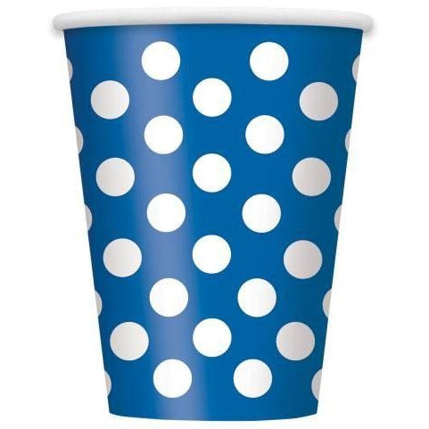 Royal Blue Dots 12oz Paper Cups, 6ct