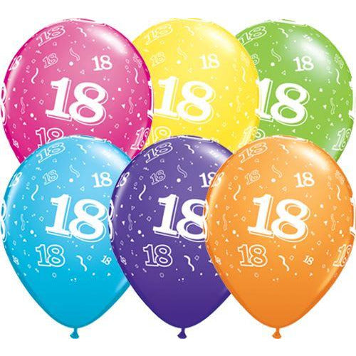 Birthday Latex Balloons Age 18 Retail Pack