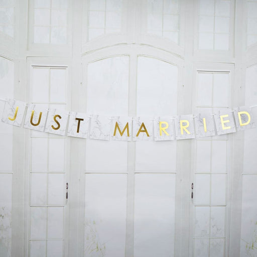 Scripted Marble - Just Married Car Bunting