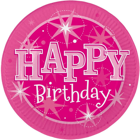 PLATES 23CM 8CT,  HAPPY BDAY PINK SPARKLE
