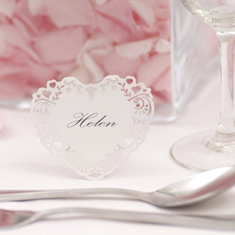 White Free Standing Place Card - Vintage Romance