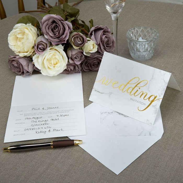 Scripted Marble - Day Invitations with Envelopes