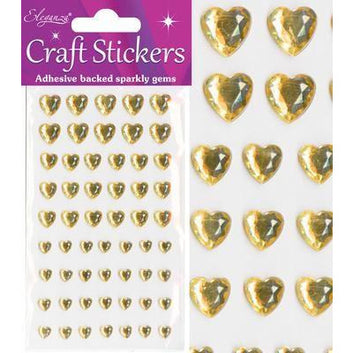 Eleganza Stickers - Mixed Hearts Diamante Gold - no.35
