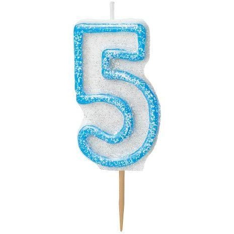 Birthday Blue Glitz Number 5 Numeral Candles