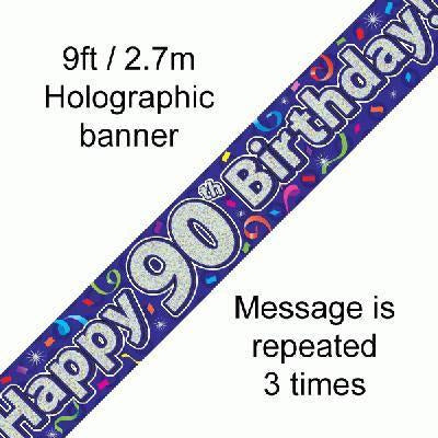 Holographic Party Streamers Banner- 90th