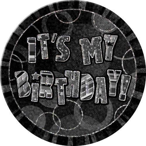 Birthday Black Glitz Button Badge