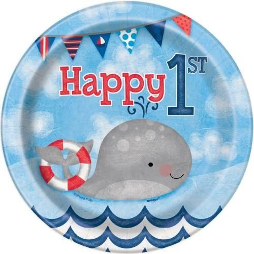 "Little Sailor Nautical First Birthday Round 7"" Dessert Plates, 8ct"