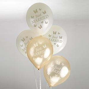 Elegant Butterfly - Balloons - 8 - Ivory/Gold