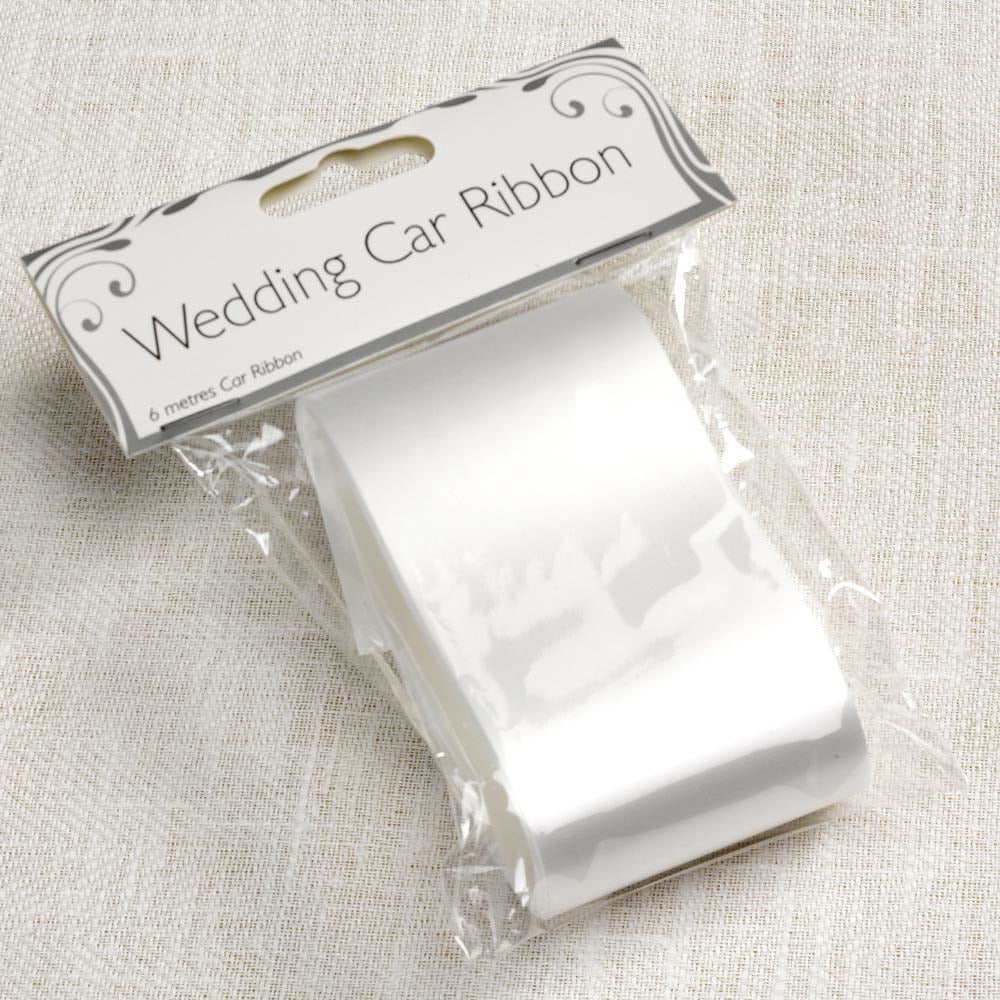 Wedding Car Ribbon - White