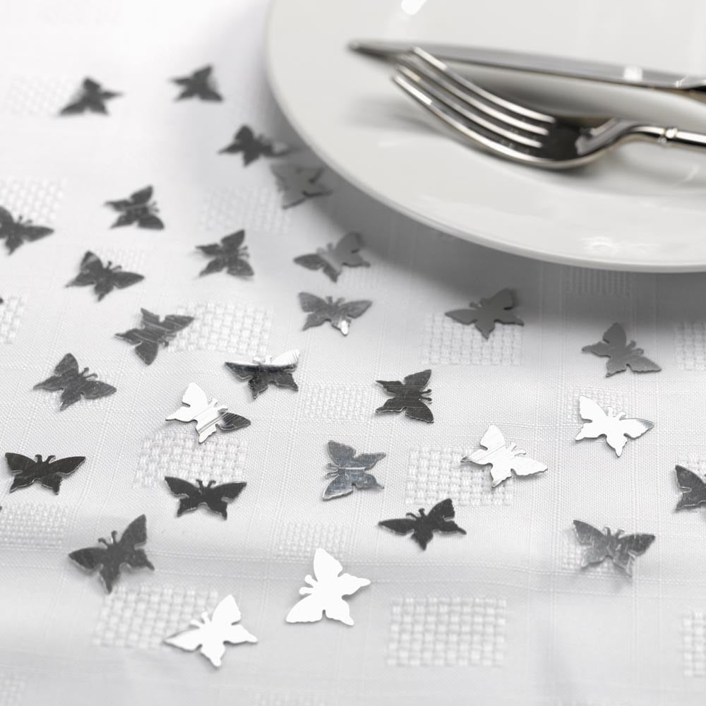 Confetti - Butterflies Silver Pack of 10