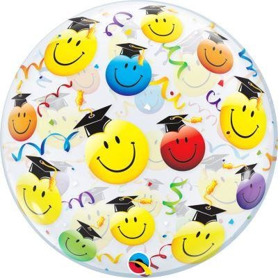 "22"" Single Bubble Grad Smiley Faces Balloon"