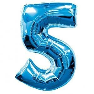 Blue Number Balloon 5