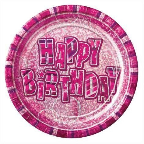 8 Happy Birthday Pink Prism 9'' Plates