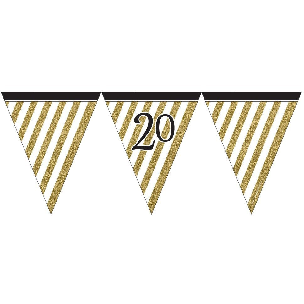 Black and Gold 20 Paper Flag Bunting