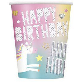 8 Unicorn 9oz Cups Unique Party