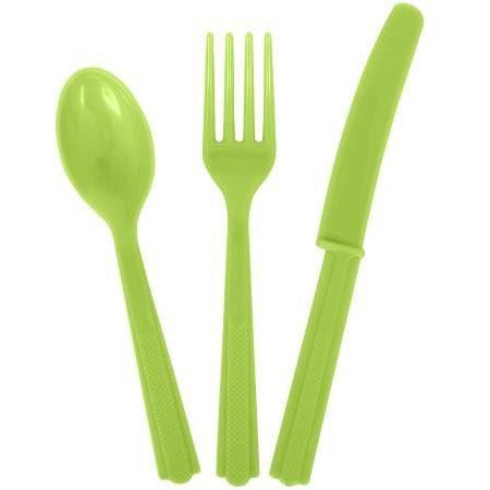 Neon Green Solid Assorted Plastic Cutlery, 18ct