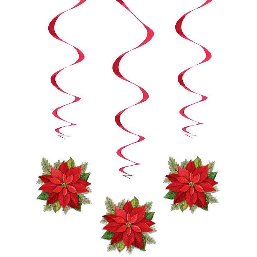 "Poinsettia Plaid Hanging Swirl Decorations, 26"", 3ct Christmas"
