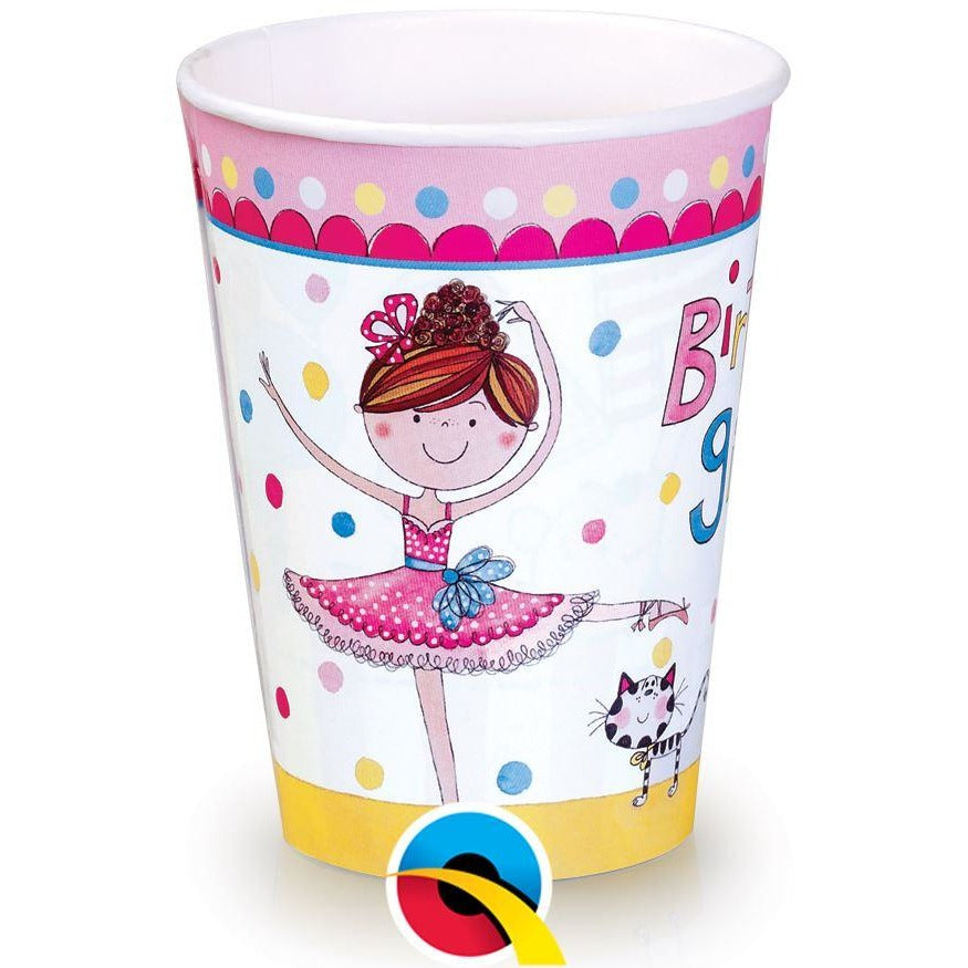 PARTY PAPER CUPS 8CT,  RE-BALLERINA CUPS