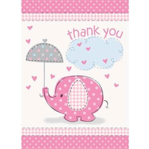 Umbrellaphants Pink Thank You Notes, 8ct