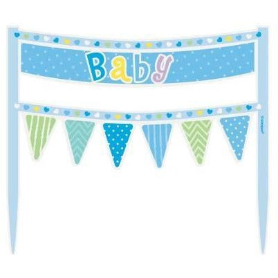 Blue Dots Baby Shower Cake Bunting