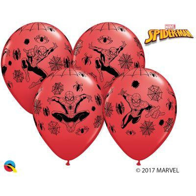 12'' Spiderman Red Latex Balloons Retail Pack