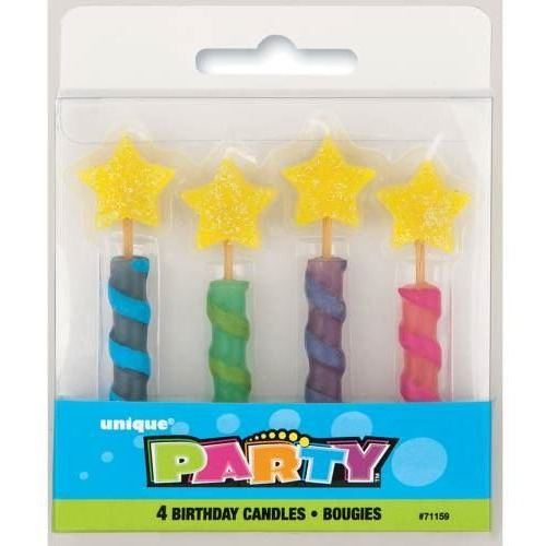 Star Top Birthday Candles, 4ct