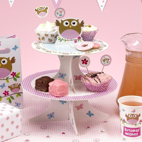 Little Owls - Cake Stand - Pink