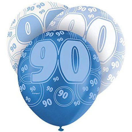 Blue Glitz Latex Balloons Age 90 (Special price of 65p)
