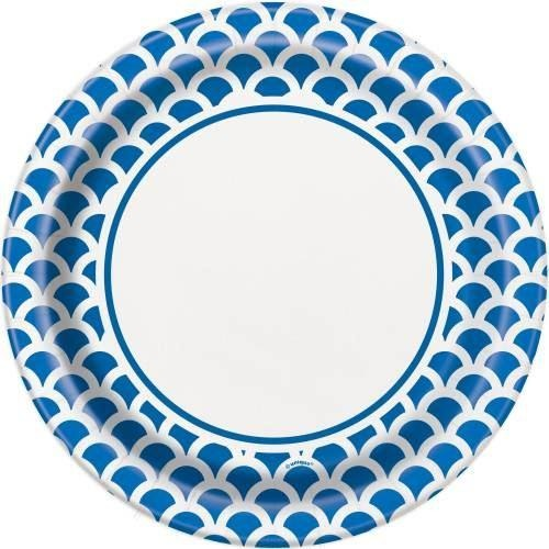 "Royal Blue Scallop Round 9"" Dinner Plates, 8ct"