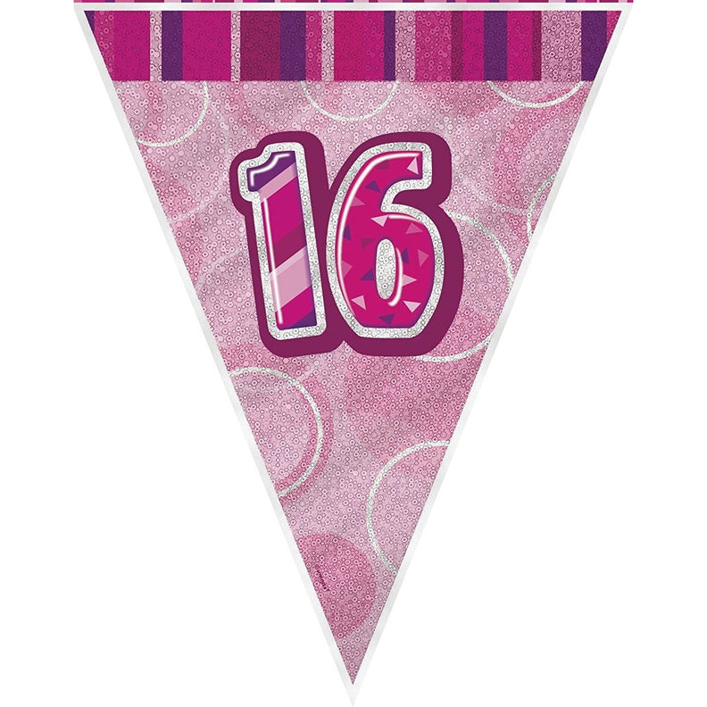 Pink Glitz Flag Banner Age 16 (9ft) (special price of 42p) (Also Upstairs)