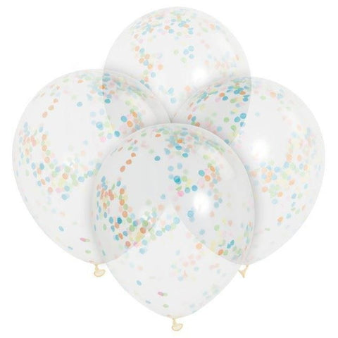 "12"" Clear & Multi Colour Confetti Filled Balloons"