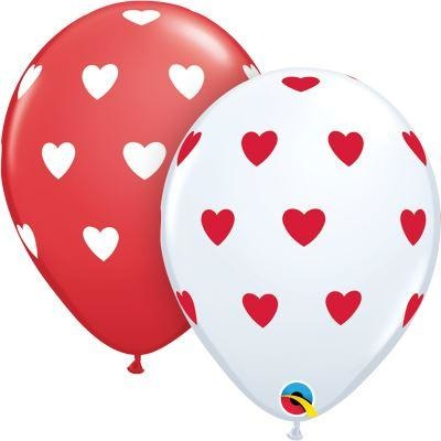 "11""  RND  WHITE&RED       50CT BIG HEARTS"