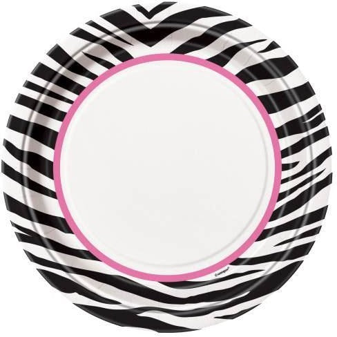 "Zebra Passion Pink Round 9"" Dinner Plates, 8ct"
