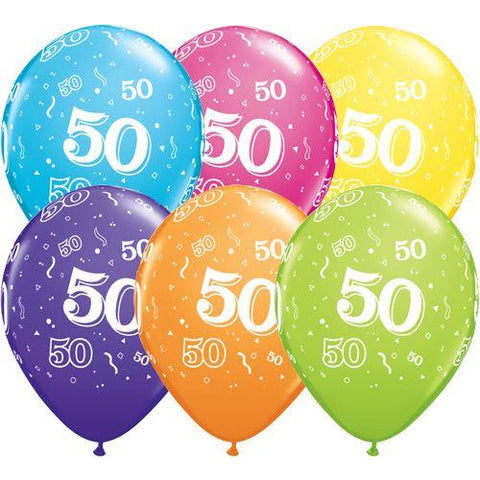 Birthday Latex Balloons Age  50  Retail Pack