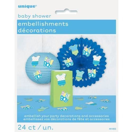 Blue Dots Baby Shower Party Embellishments, 24ct