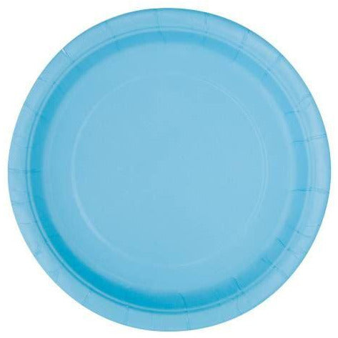 "POWDER BLUE PARTY PLATES 7"" PK20"